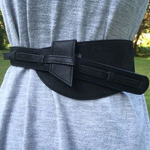 Genuine Leather ELEGANTLY WAISTED Black Suede Belt